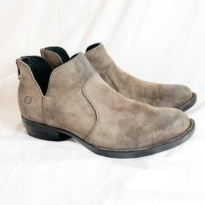 Born- Distressed suede brown booties Great shape